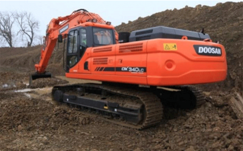 Doosan Dx 340 LCA For Rent with Jack hummer
